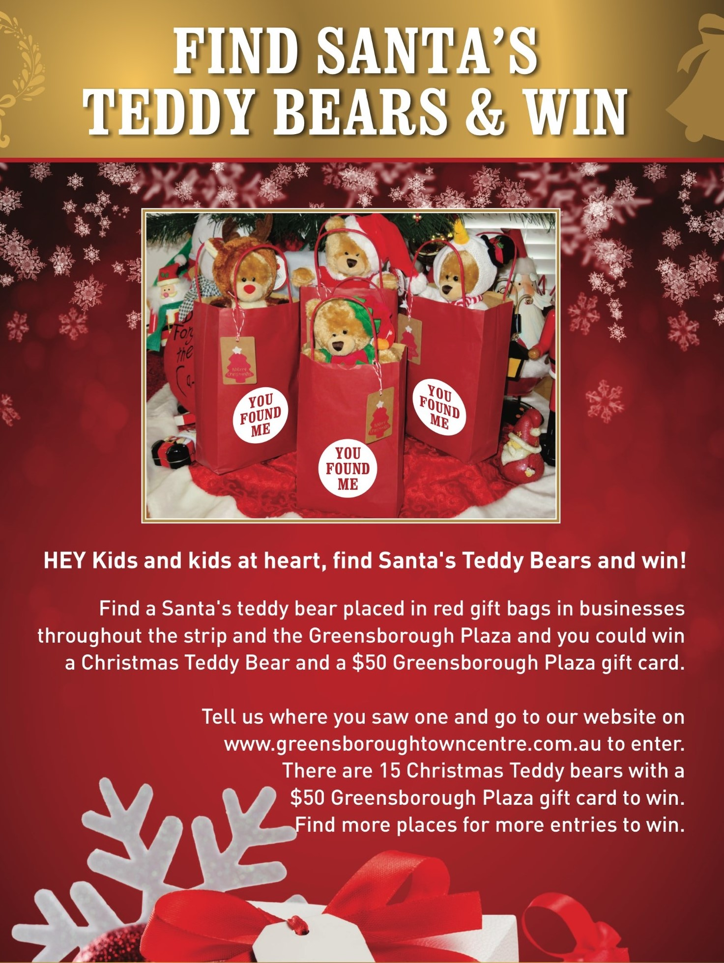Find santas teddy bears win greensborough town centre enter the competition name reheart Choice Image